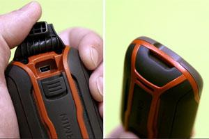 Слева: верхняя часть навигатора (разъем USB). Справа: нижняя часть (крепление для ремешка)