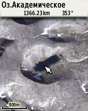 Фрагмент карты Хибинских гор (космоснимок Google)