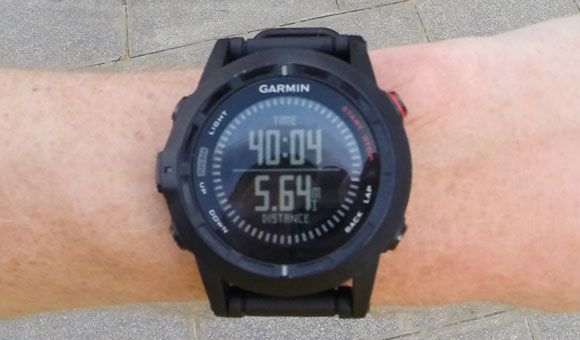 Garmin fenix 2 -  общее время моей пробежки и дистанция