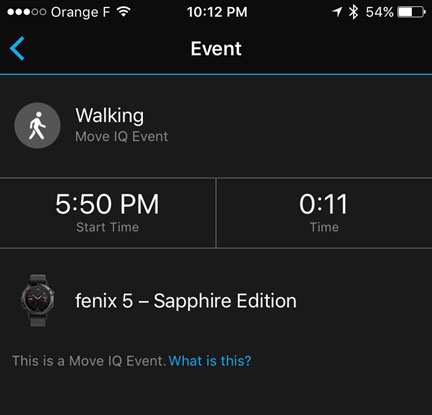 Fenix 5 - Все данные активности доступны в приложении Garmin Connect Mobile
