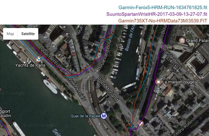 Garmin fenix 5 - Точность GPS - пробежка в Париже