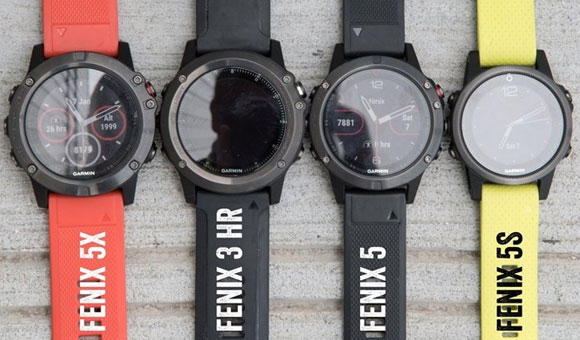 Слева направо: Fenix 5X, fenix 3 HR, Fenix 5, Fenix 5S