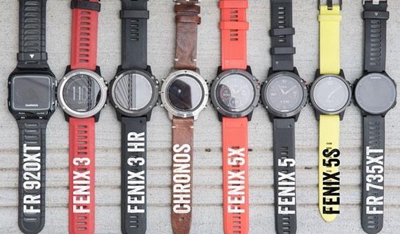 Garmin Fenix 5 рядом с Fenix Chronos, FR920XT и FR735XT