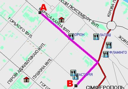 «Другая 1» Нарушение ПДД: при перемещении из п. А в п. В проезд в неположенном месте – пешеходной зоне