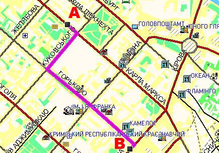 «Другая 2» Нарушение ПДД: при перемещении из п. А в п. В проезд в неположенном месте – пешеходной зоне.