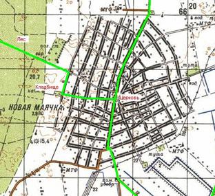 Garmin демонстрирует олностью прорисованную уличную сеть райцентра