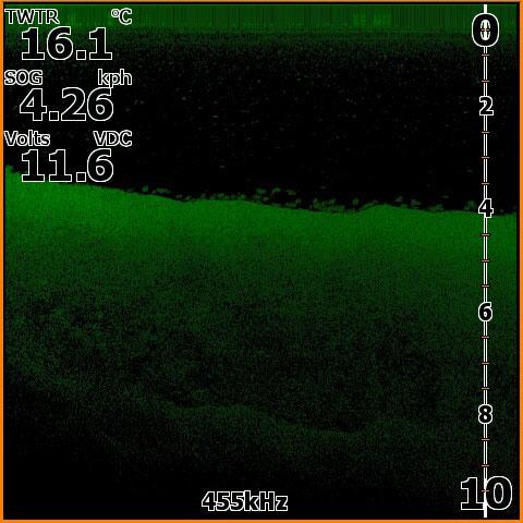 Волга. р. Чапаевка. Пример стоящей на 4м. стаи судака по береговому свалу.