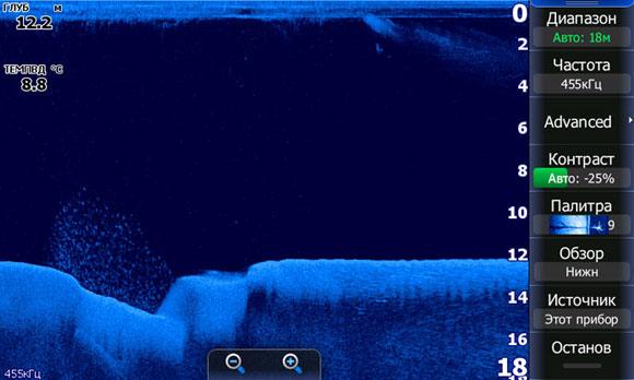 Волга. Петровский затон близ г. Самара. Пример, как стая леща находит себе укрытие в складках рельефа.