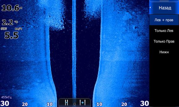 Боковой обзор структурсканера - видны силуэты отдельных рыб