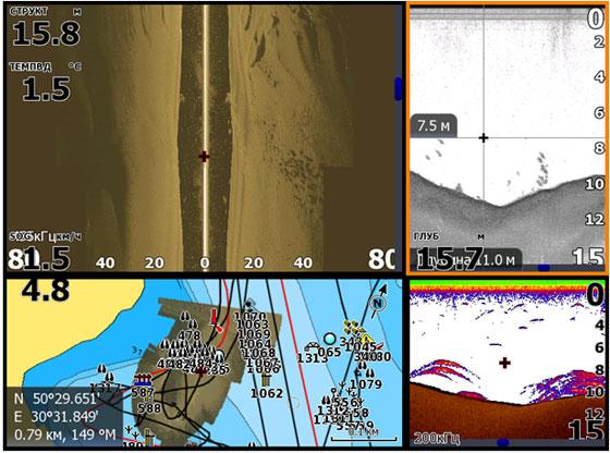 Вверху – боковые лучи. Справа сверху - даунсканер на частоте 455 кГц. Справа снизу - 2Д эхолот с Бродбенсаундером.слева внизу - GPS карта