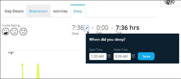 я могу зайти на веб-сайт и внести изменения в статистику моего сна