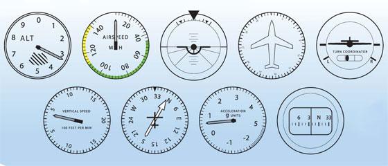 Альтиметр, Датчик воздушной скорости, Гировертикаль, Гироскопический указатель курса /ПНП, Датчик скольжения, Индикатор вертикальной скорости, Автоматический радиокомпас с GPS, Акселерометр, Магнитный компас