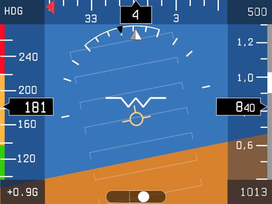 На экране PFD отображаются данные ADAHRS: воздушная скорость, гировертикаль