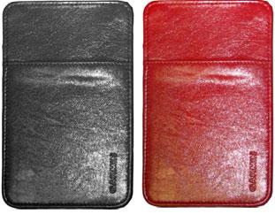 Чехол Garmin кожаный, черный(красный)